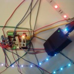 Rainbowduino with USBTinyISP attached